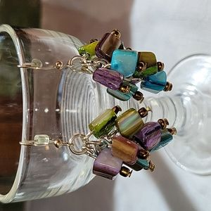 Artisan crafted opalescent stone dangle earrings